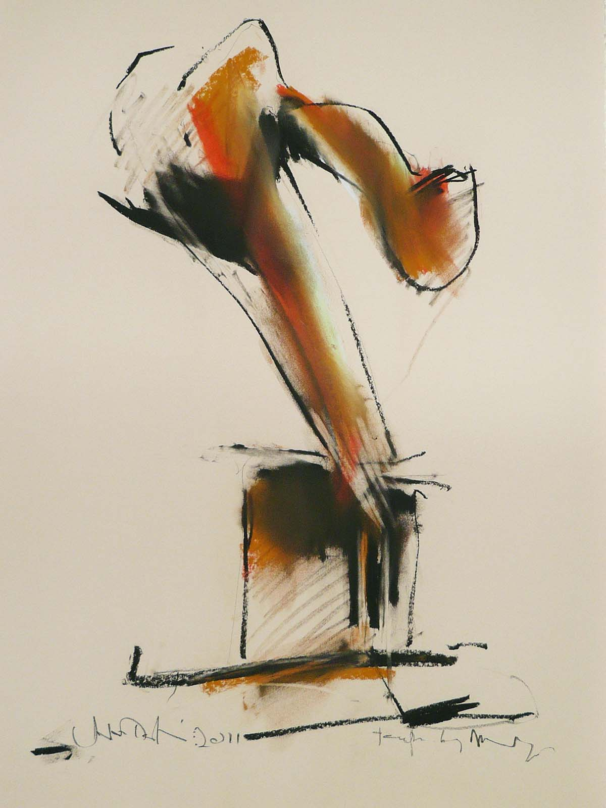 Van Alstine-John_Tempered by Memory13 orange_Charcoal on Paper_30x22
