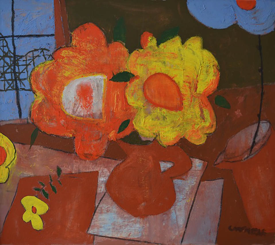 cartmell_orangeandyellowflowers_oiloncanvas_39x345