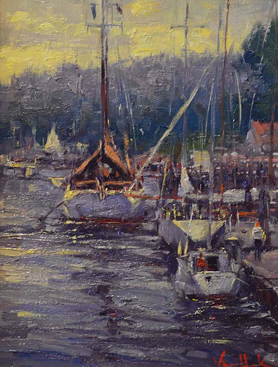 van-hook_schooners-in-the-harbor_16x12