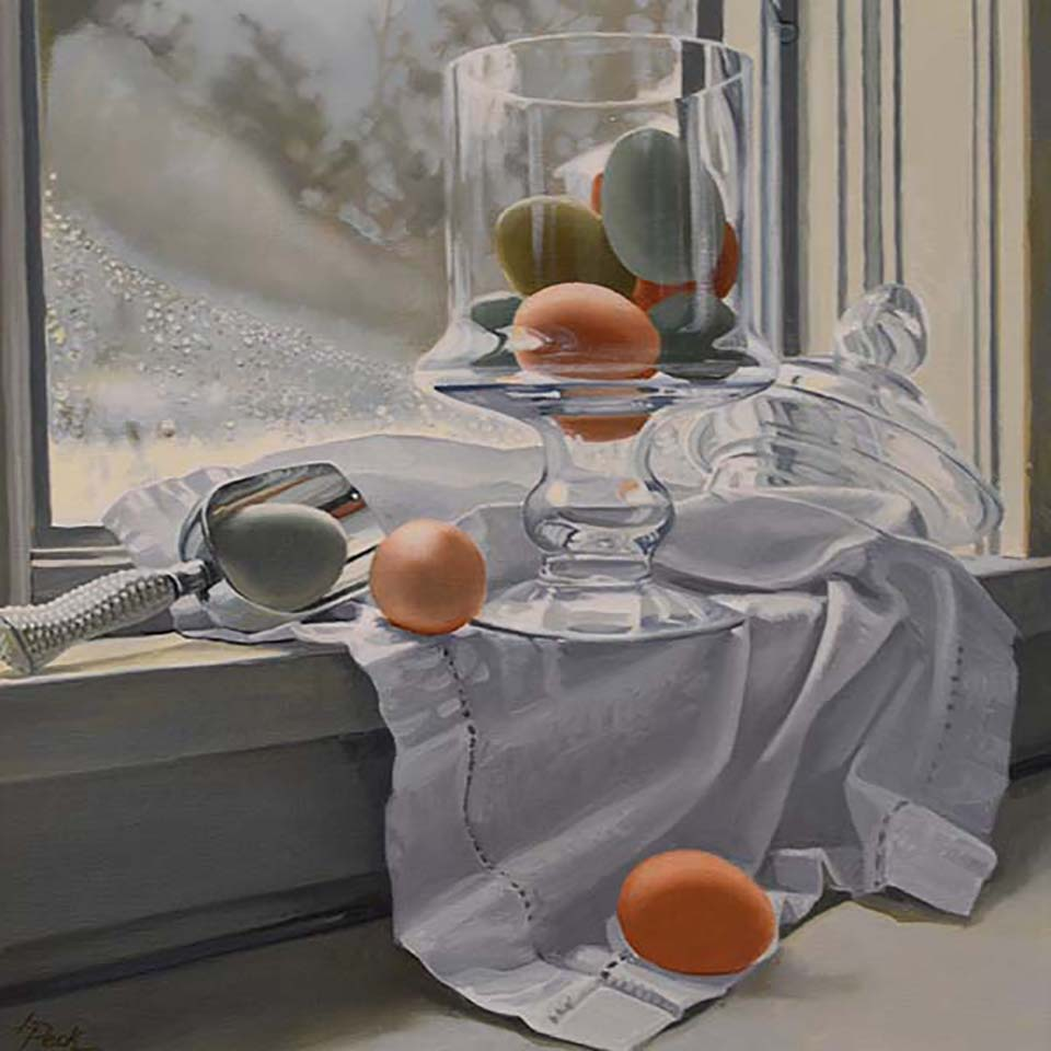 peck_fresh-eggs-and-silver_20x20